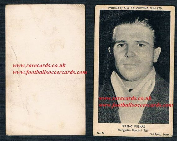 1954 All Sports A&BC Gum 54 Puskas